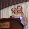 Scholarship Nominee, Maddie McAlister addresses the members.